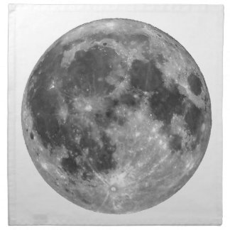 Full moon seen with telescope printed napkin