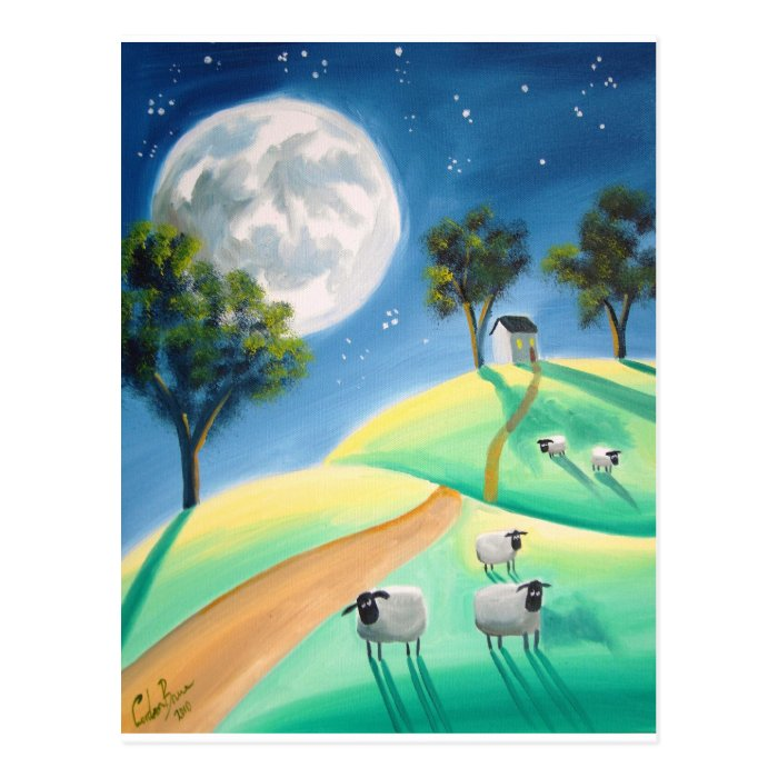 FULL MOON & SHEEP PAINTING POSTCARD