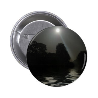 Full Moon Shining Above Water 6 Cm Round Badge