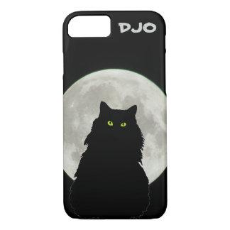 Full Moon Sitting Black Cat iPhone 7 Case