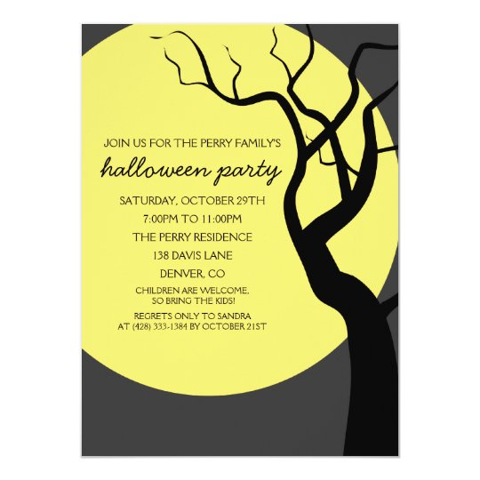 Full Moon Spooky Halloween Party Invitation