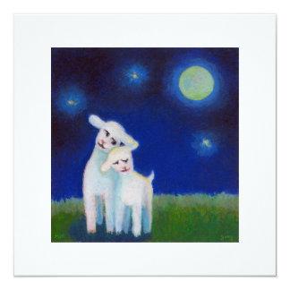 Full Moon Sweethearts - lambs sheep CUSTOMIZE IT 13 Cm X 13 Cm Square Invitation Card