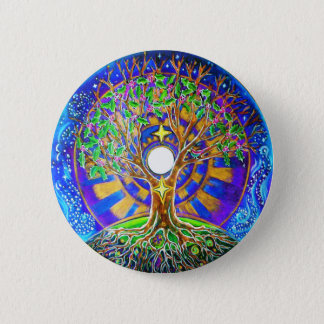 Full Moon Tree of Life Mandala Button