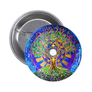 Full Moon Tree of Life Mandala Button
