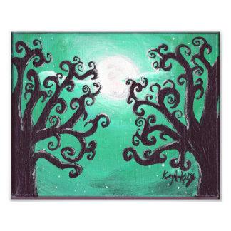 Full Moon Two Trees Green Sky Art Print Photo Art