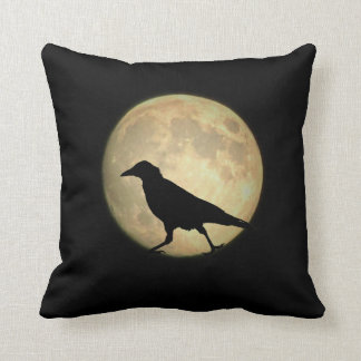 Full Moon Walking Crow Silhouette Throw Pillow