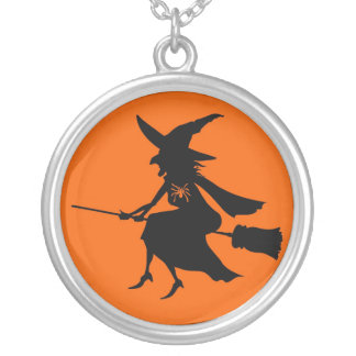 FULL MOON WITCH RIDING BROOM PRINT ROUND PENDANT NECKLACE