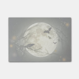 Full Moon with bats and Raven Post-it® Notes