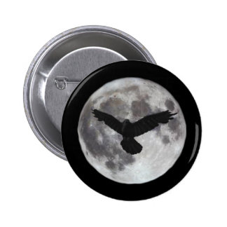 Full moon with crow flying in front of it 6 cm round badge
