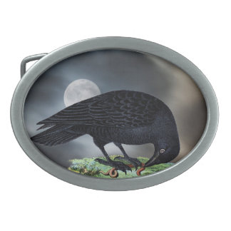 Full Moon with Raven Oval Belt Buckle