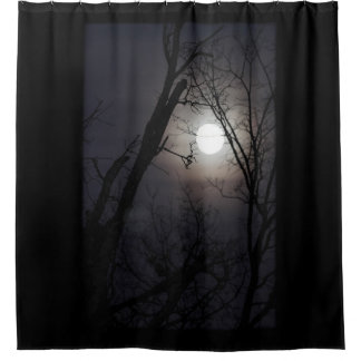 Full moon with tree silhouettes shower curtain