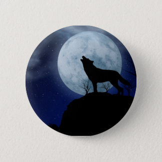 Full Moon Wolf 6 Cm Round Badge