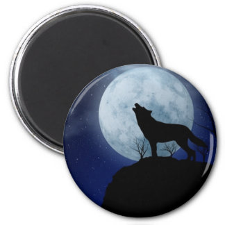 Full Moon Wolf 6 Cm Round Magnet