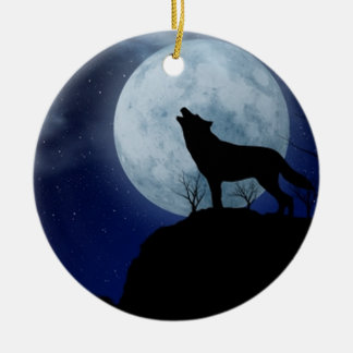 Full Moon Wolf Christmas Ornament