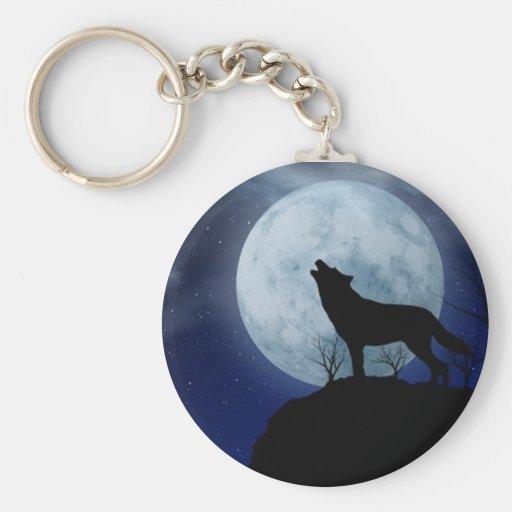 Full Moon Wolf Keychain
