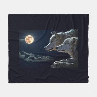 Full Moon Wolves Fleece Blanket