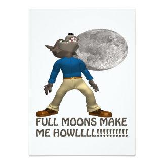 Full Moons Make Me Howl 13 Cm X 18 Cm Invitation Card