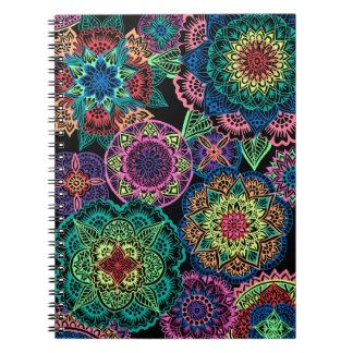 Full Page Neon Mandalas Notebooks