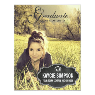 Full Photo Grad Party with Chalkboard Tag Card