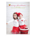 Full Photo Merry Christmas Holly and Berries Personalised Invite