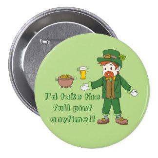 Full Pint St Patricks Day 7.5 Cm Round Badge