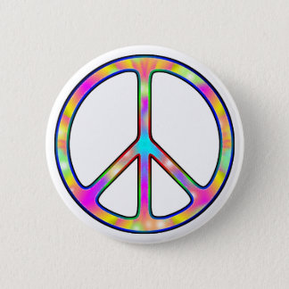 Full Psychedelic Peace Sign 6 Cm Round Badge