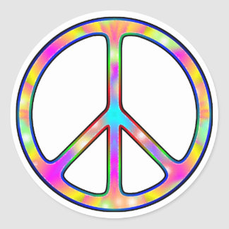 Full Psychedelic Peace Sign Round Sticker