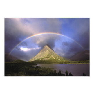 Full rainbow and stormy sky over Grinnell Photo Print