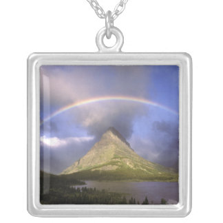 Full rainbow and stormy sky over Grinnell Silver Plated Necklace
