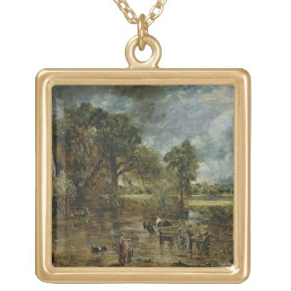 Full scale study for 'The Hay Wain', c.1821 Gold Plated Necklace