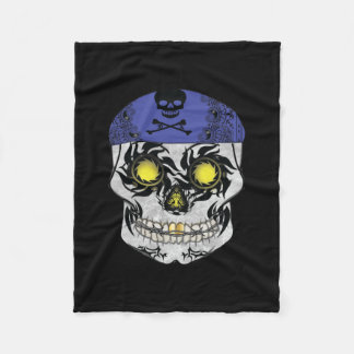 Full Sized Biker Candy Skull on Fleece Blanket
