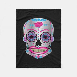 Full Sized Rose Candy Skull on Fleece Blanket
