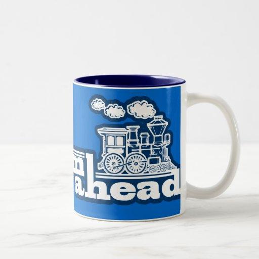 """""""full steam ahead"""" blue steam train logo mug"""