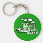 """Full steam ahead"" green train graphic keychain"
