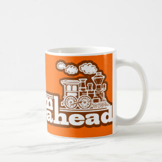 """full steam ahead"" orange steam train logo mug"