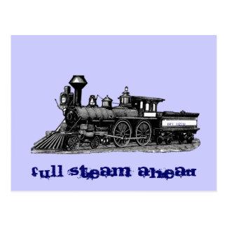 Full steam ahead vintage railway engine postcard
