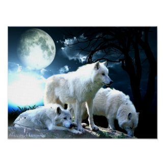 Full Wolf Moon Large Poster