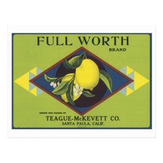 Full Worth Lemon Fruit Crate Label Postcards