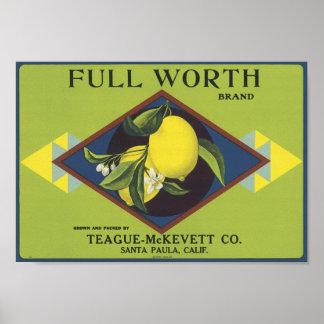 Full Worth Lemon Fruit Crate Label Poster