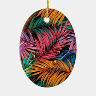 Fullcolor Palm Leaves Ceramic Oval Decoration