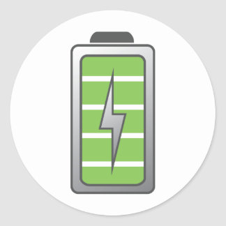 Fully Charged Battery Round Sticker
