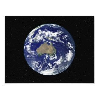 Fully lit Earth centered on Australia and Ocean Photo Print