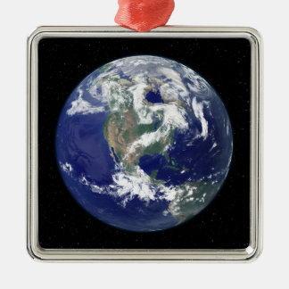 Fully lit Earth centered on North America Silver-Colored Square Decoration