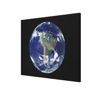 Fully lit Earth centered on South America Canvas Print