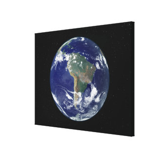 Fully lit Earth centered on South America Stretched Canvas Print