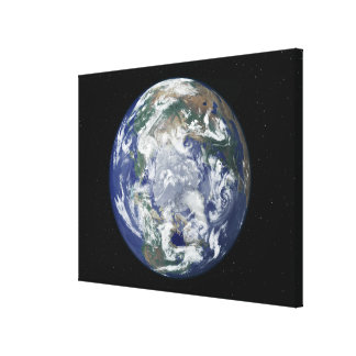 Fully lit Earth centered on the North Pole Stretched Canvas Prints