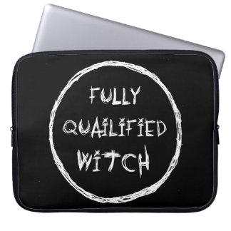 Fully Qualified Witch - Spooky Chalk Effect Laptop Sleeves