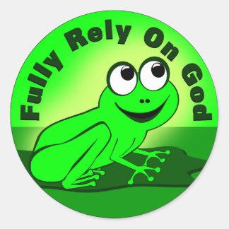 Fully Rely on God F.R.O.G. Round Sticker