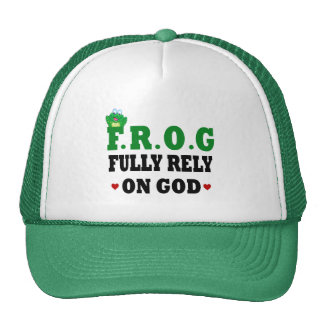 Fully Rely On God Frog Trucker Hats
