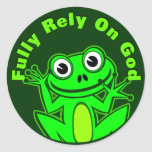 Fully Rely on God Froggy Sticker